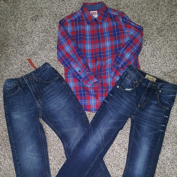 3802e277 Wrangler button down shirt with two pair of jeans.  M_5c8c2ae6f63eeaf15eb7d675
